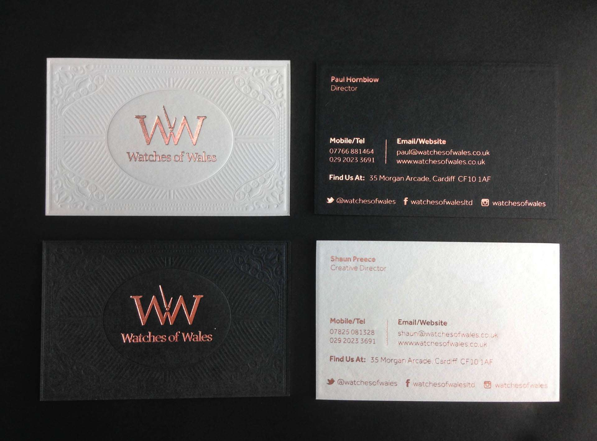 blind debossed business cards